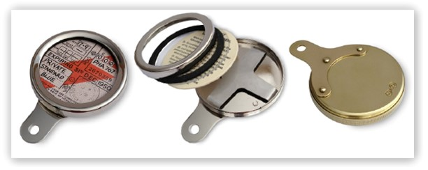 Brass, chrome and nickel tax disc holders for classic and vintage vehicles
